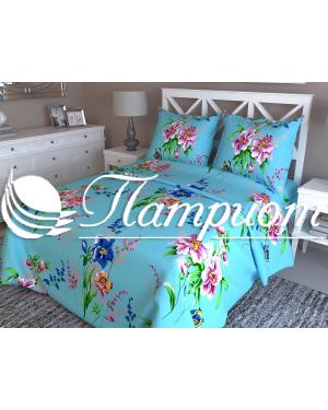 КПБ 1.5 спальный Мадлен, голубой, набивная бязь 125 гм2 838-4