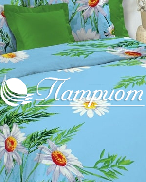 КПБ 1.5 спальный Ромашки, голубой, набивная бязь 125 гм2 1480-3