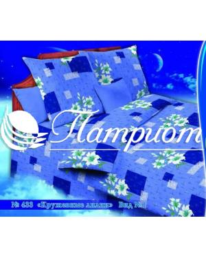 КПБ 1.5 спальный Кружевные лилии, голубой, набивная бязь 142 гм2 433-1