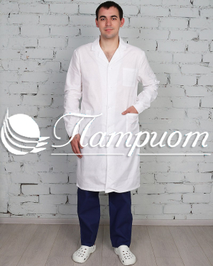 Халат медицинский мужской «Классика» белый ткань Бязь ГОСТ Модель 1