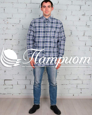 Рубашка мужская шотландка длинный рукав